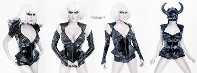 Rokoko Corsage, Push up, Hot Pant, Gloves, Black Fashion, Tatjana Warnecke Design